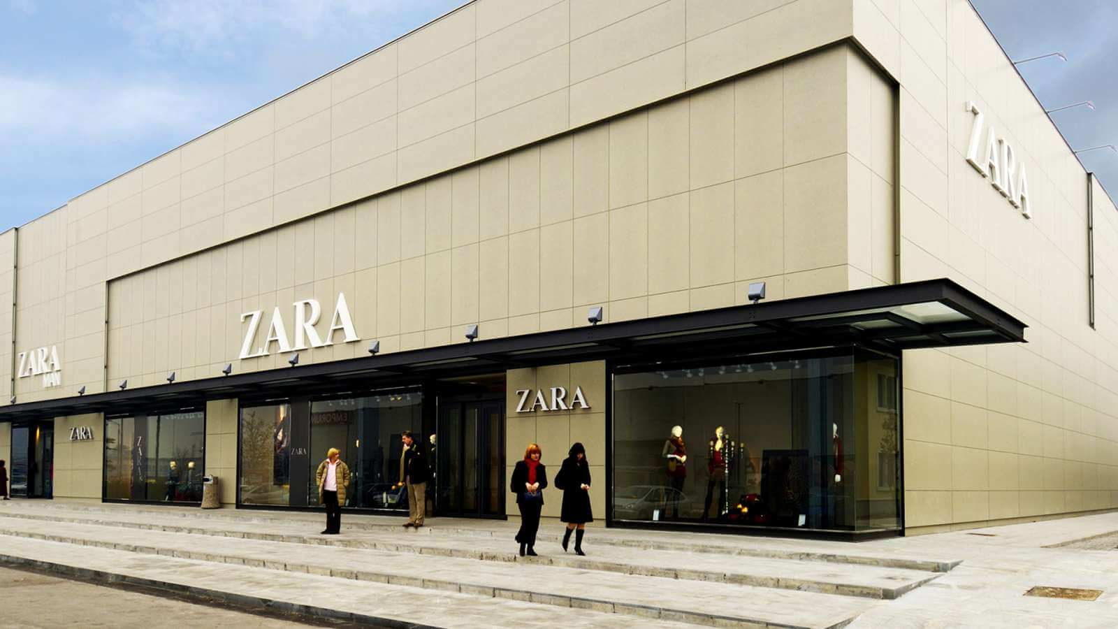 Swisspearl Cladding panels used for the exterior for Zara Fashion