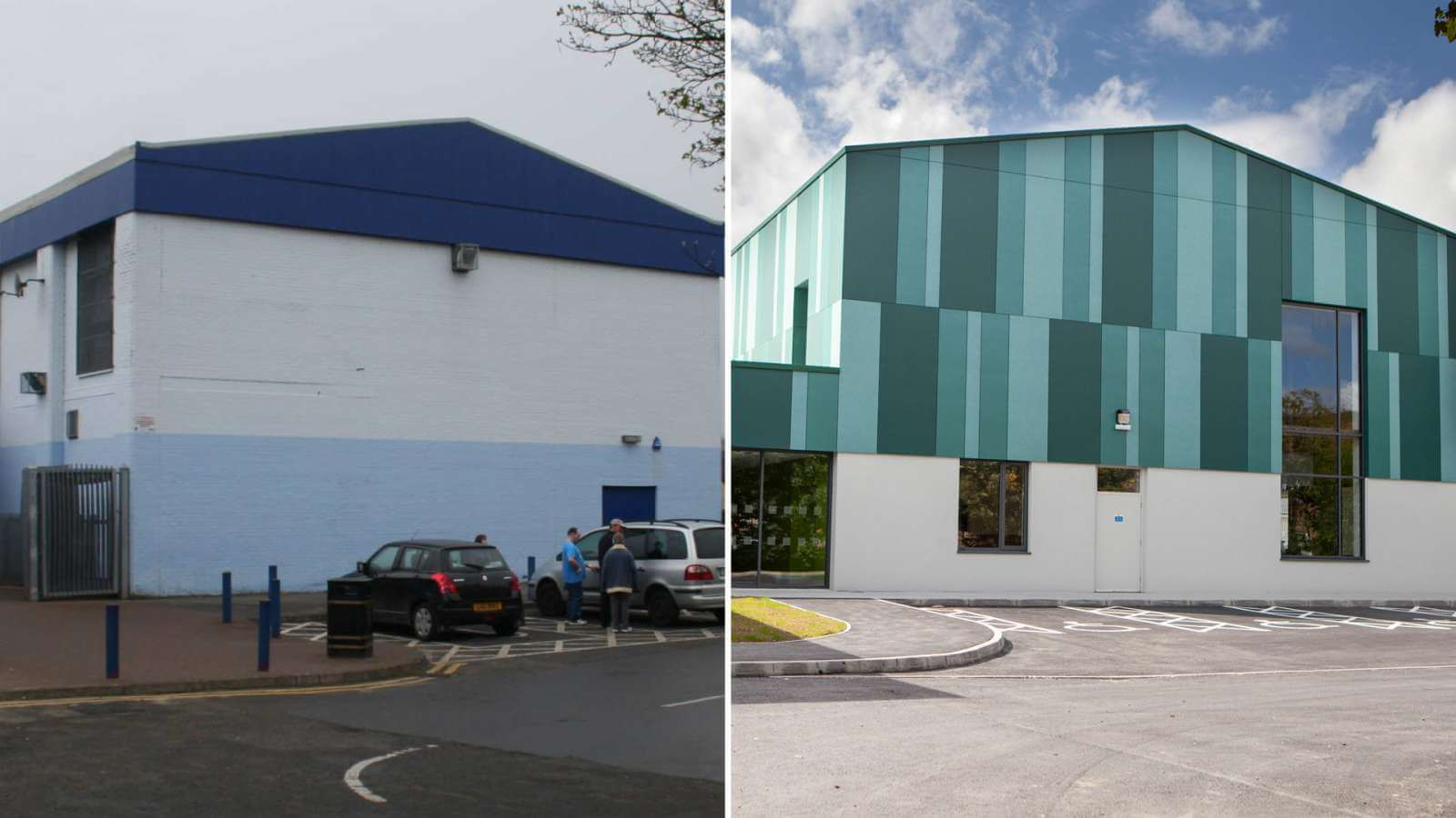 Melvin Sports Complex New Facade before after