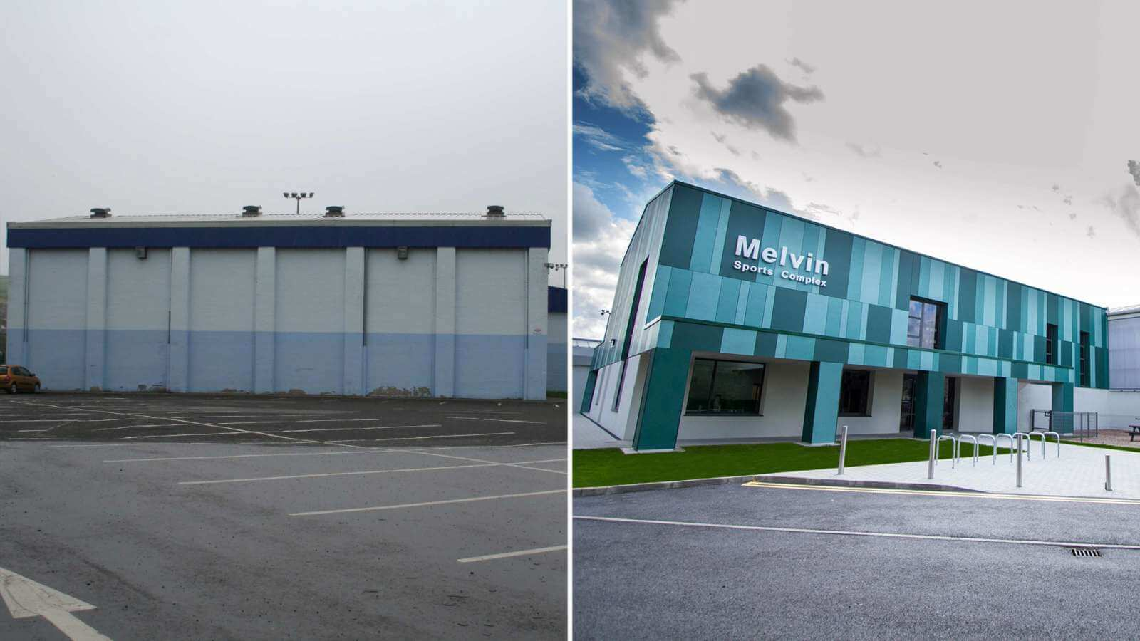 Cladding - Melvin Sports Complex New Facade before after