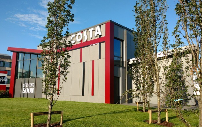 Costa Coffee uses fibre cement cladding by Swiss Facades